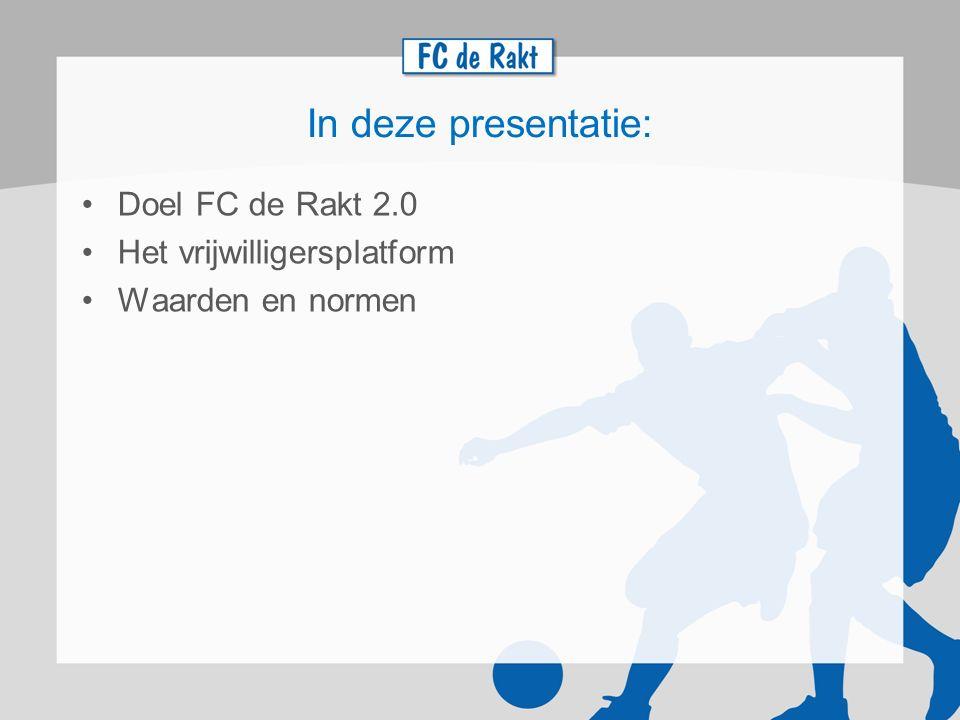 In deze presentatie: Doel FC de Rakt 2.0 Het vrijwilligersplatform Waarden en normen