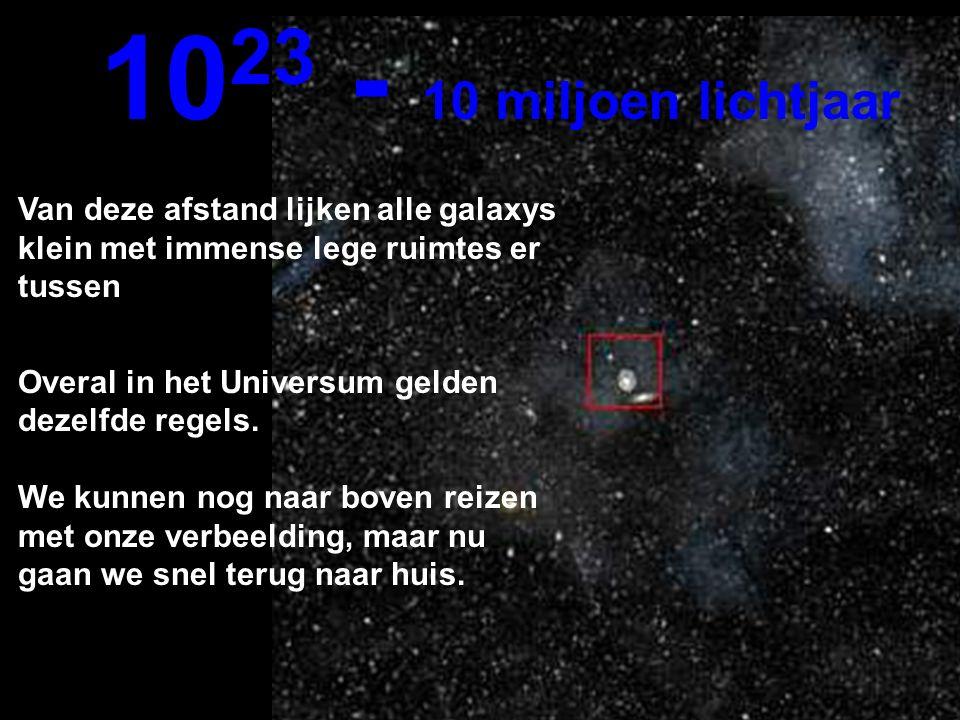 Op deze immense afstand kunnen we de Melkweg en andere galaxys zien... 10 22 1 miljoen lichtjaar