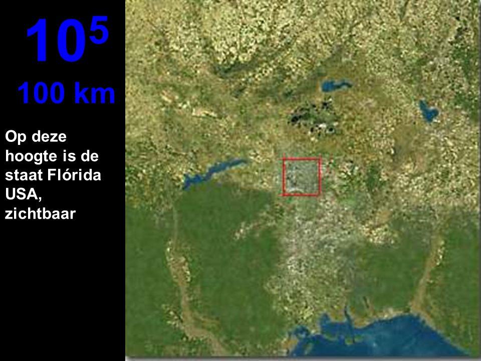 Op deze hoogte is de staat Flórida USA, zichtbaar 10 5 100 km