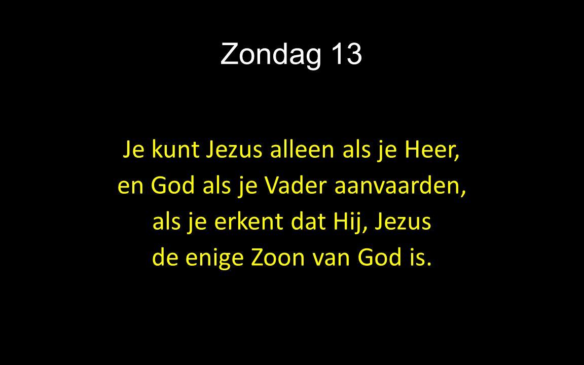 Zondag 13 Je kunt Jezus alleen als je Heer, en God als je Vader aanvaarden, als je erkent dat Hij, Jezus de enige Zoon van God is.