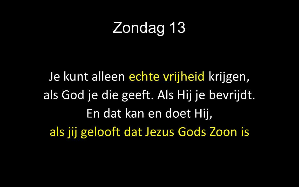 Zondag 13 Je kunt alleen echte vrijheid krijgen, als God je die geeft. Als Hij je bevrijdt. En dat kan en doet Hij, als jij gelooft dat Jezus Gods Zoo