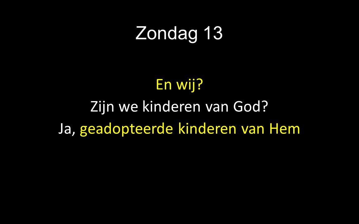 Zondag 13 En wij? Zijn we kinderen van God? Ja, geadopteerde kinderen van Hem