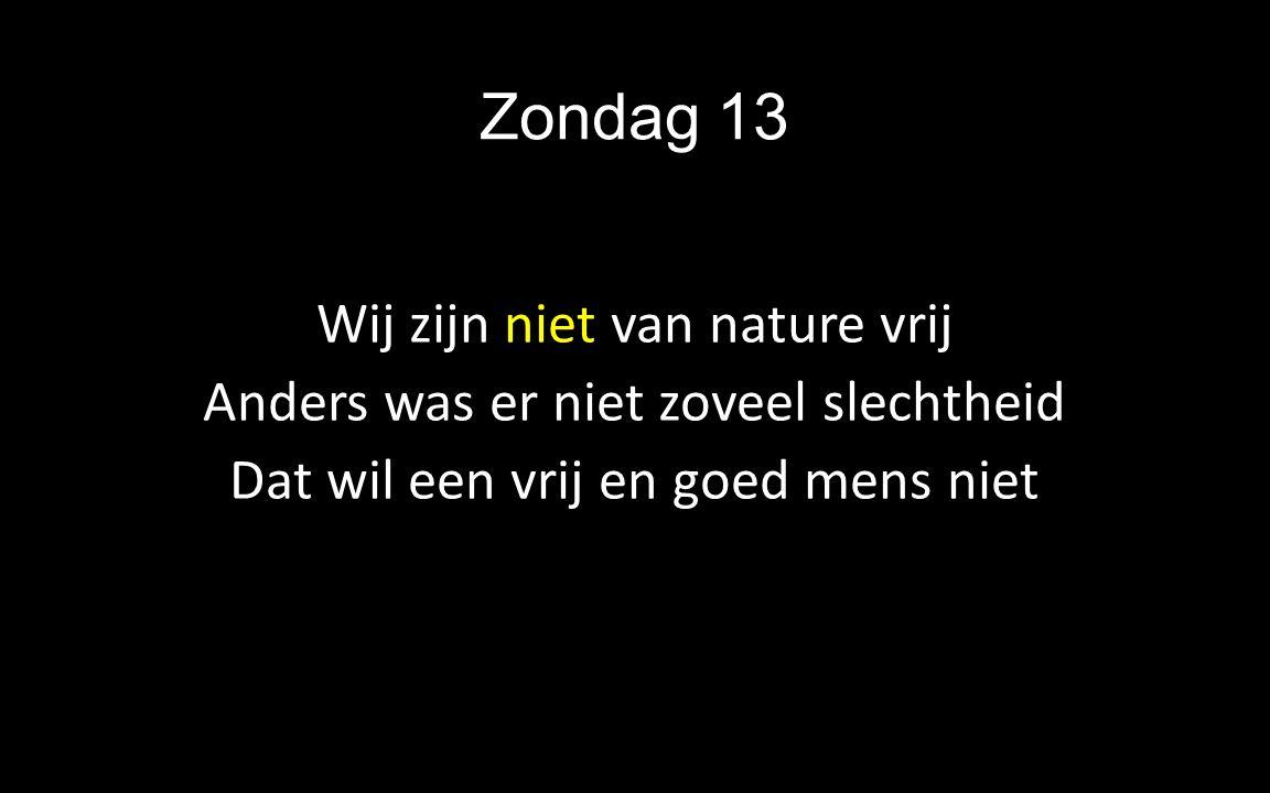 Zondag 13 Wij zijn niet van nature vrij Anders was er niet zoveel slechtheid Dat wil een vrij en goed mens niet