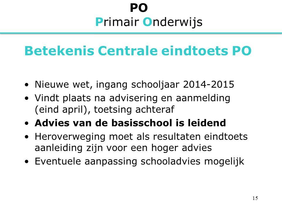 PO Primair Onderwijs Betekenis Centrale eindtoets PO Nieuwe wet, ingang schooljaar 2014-2015 Vindt plaats na advisering en aanmelding (eind april), to