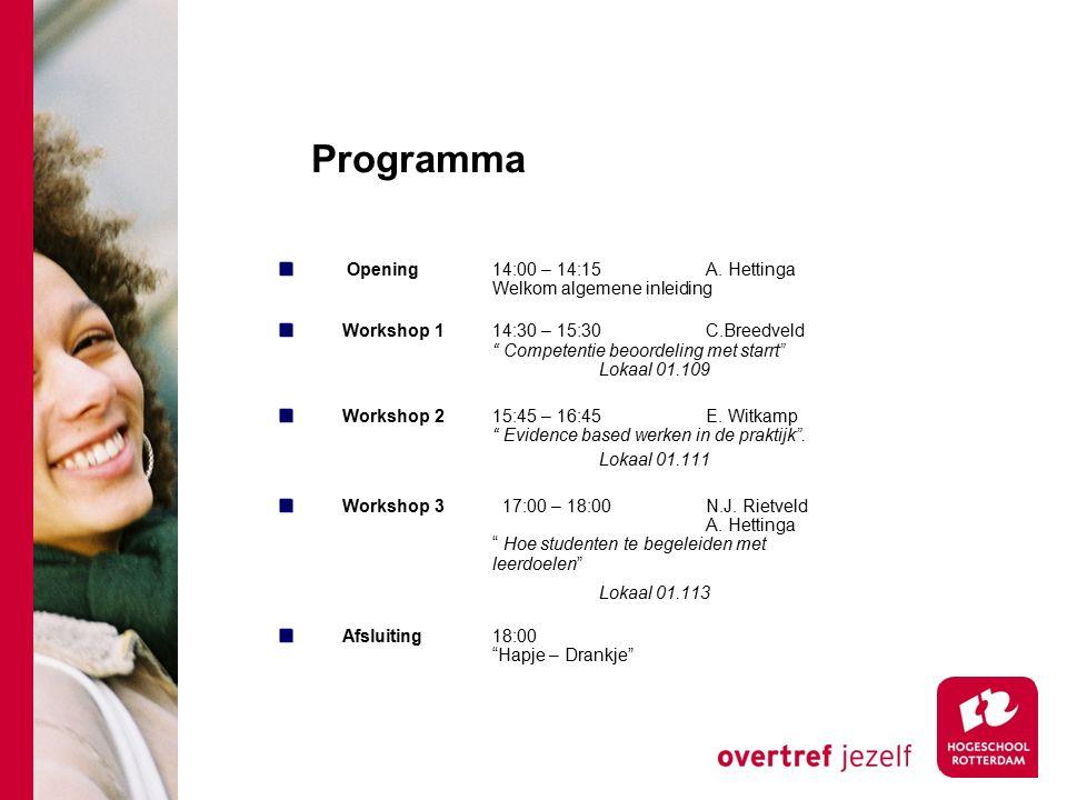 "Programma Opening14:00 – 14:15A. Hettinga Welkom algemene inleiding Workshop 114:30 – 15:30 C.Breedveld "" Competentie beoordeling met starrt"" Lokaal 0"