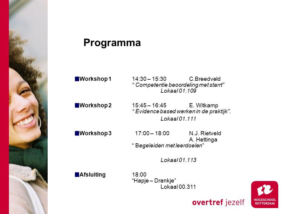 "Programma Workshop 114:30 – 15:30 C.Breedveld "" Competentie beoordeling met starrt"" Lokaal 01.109 Workshop 2 15:45 – 16:45E. Witkamp "" Evidence based"