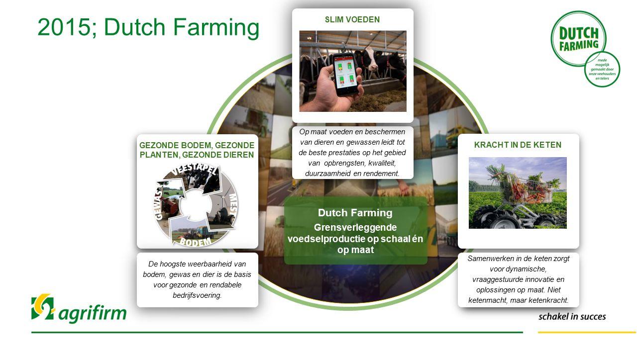2015; Dutch Farming Op maat voeden en beschermen van dieren en gewassen leidt tot de beste prestaties op het gebied van opbrengsten, kwaliteit, duurza