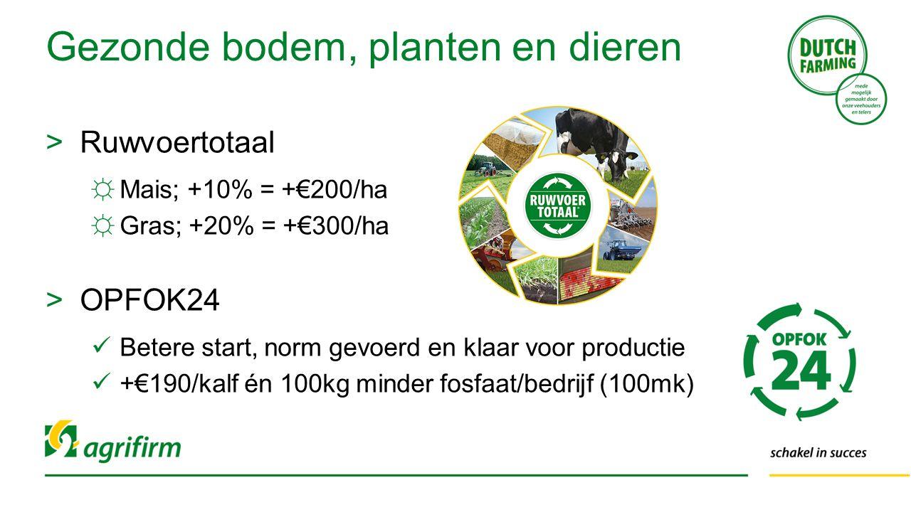 >Ruwvoertotaal ☼Mais; +10% = +€200/ha ☼Gras; +20% = +€300/ha >OPFOK24 Betere start, norm gevoerd en klaar voor productie +€190/kalf én 100kg minder fo