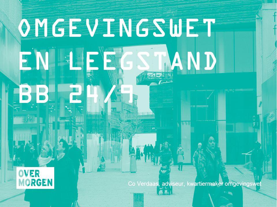 Co Verdaas, adviseur, kwartiermaker omgevingswet OMGEVINGSWET EN LEEGSTAND BB 24/9