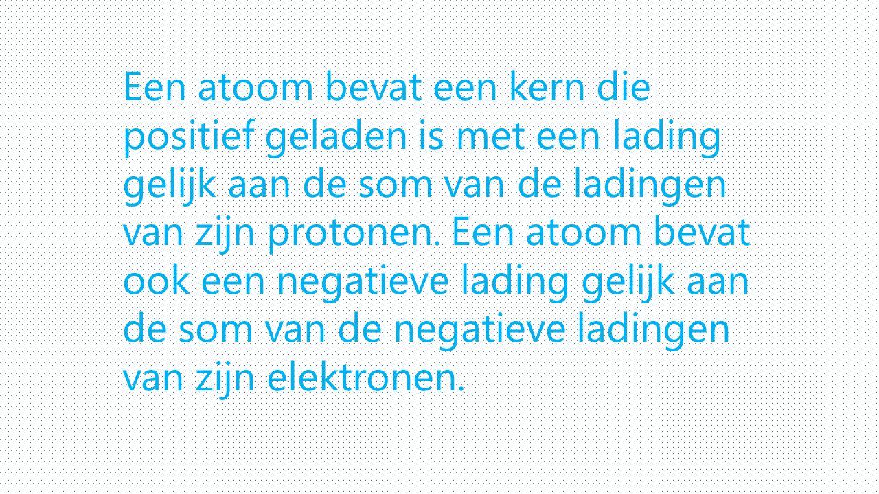 Een atoom bevat een kern die positief geladen is met een lading gelijk aan de som van de ladingen van zijn protonen. Een atoom bevat ook een negatieve