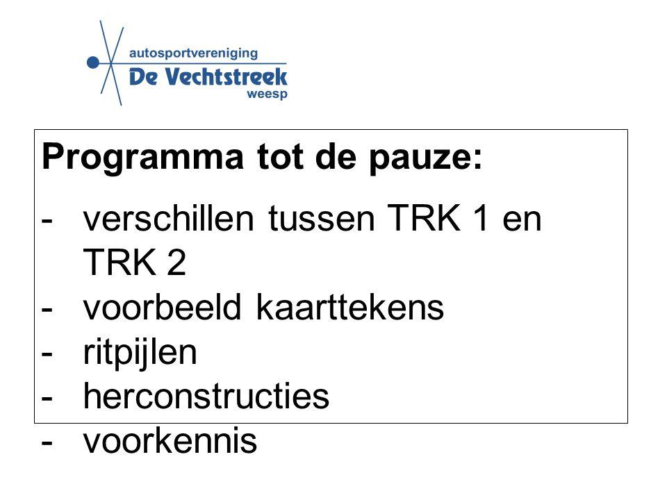 Programma tot de pauze: -verschillen tussen TRK 1 en TRK 2 -voorbeeld kaarttekens -ritpijlen -herconstructies -voorkennis