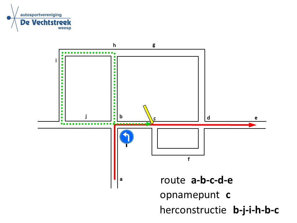 a b c d e f g h i j route a-b-c-d-e opnamepunt c herconstructie b-j-i-h-b-c