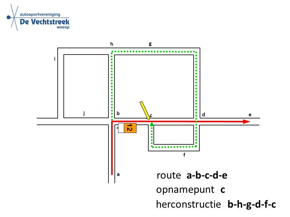 a b c d e f g h i 12 j route a-b-c-d-e opnamepunt c herconstructie b-h-g-d-f-c