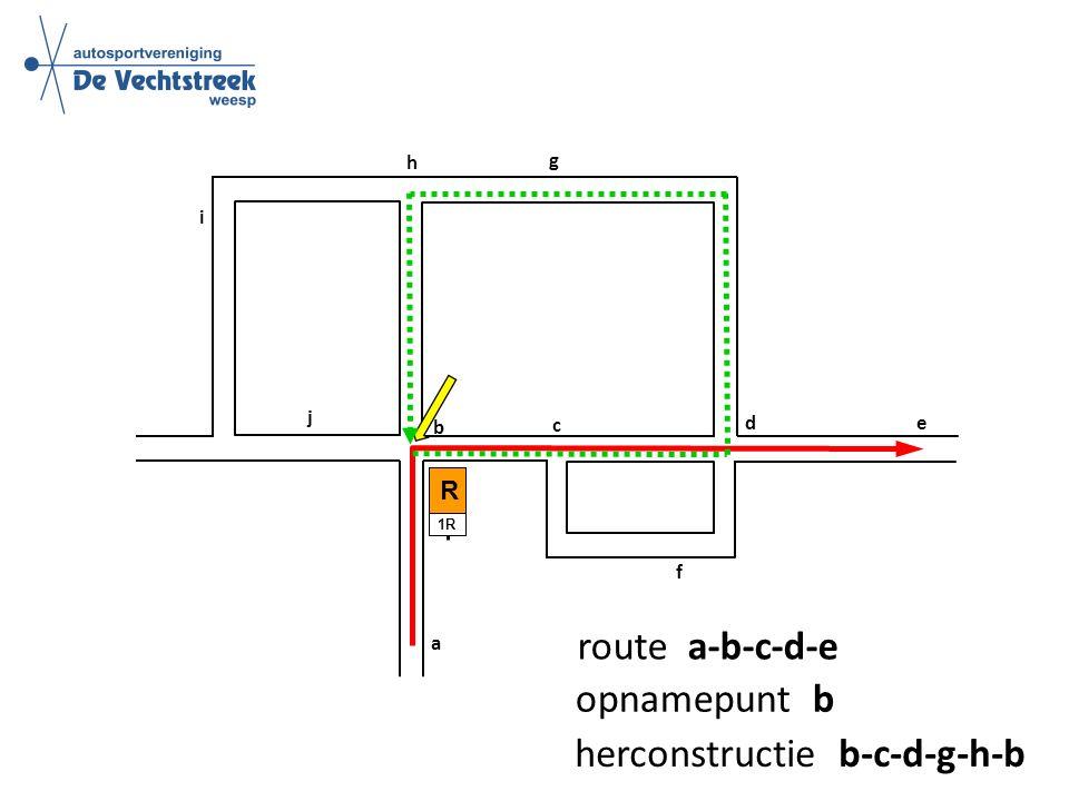 a b c d e f g h i R 1R j route a-b-c-d-e opnamepunt b herconstructie b-c-d-g-h-b
