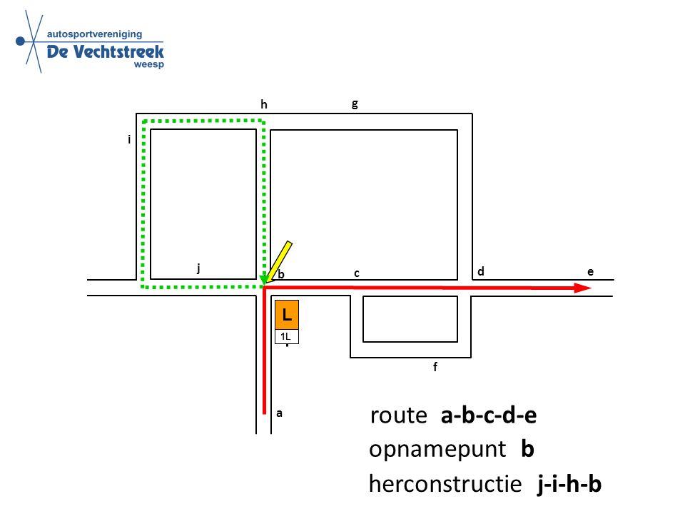 a b c d e f g h i L 1L j route a-b-c-d-e opnamepunt b herconstructie j-i-h-b