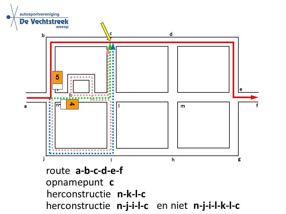 a b c d f g h e i j k l m n route a-b-c-d-e-f 5 opnamepunt c herconstructie n-k-l-c 4 herconstructie n-j-i-l-c en niet n-j-i-l-k-l-c