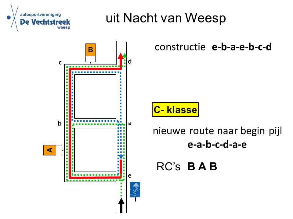 uit Nacht van Weesp B a A b c e d constructie e-b-a-e-b-c-d C- klasse nieuwe route naar begin pijl e-a-b-c-d-a-e RC's B A B