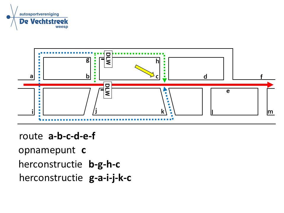 a b c d e f g h i j k l m route a-b-c-d-e-f DLW opnamepunt c herconstructie b-g-h-c DLW herconstructie g-a-i-j-k-c