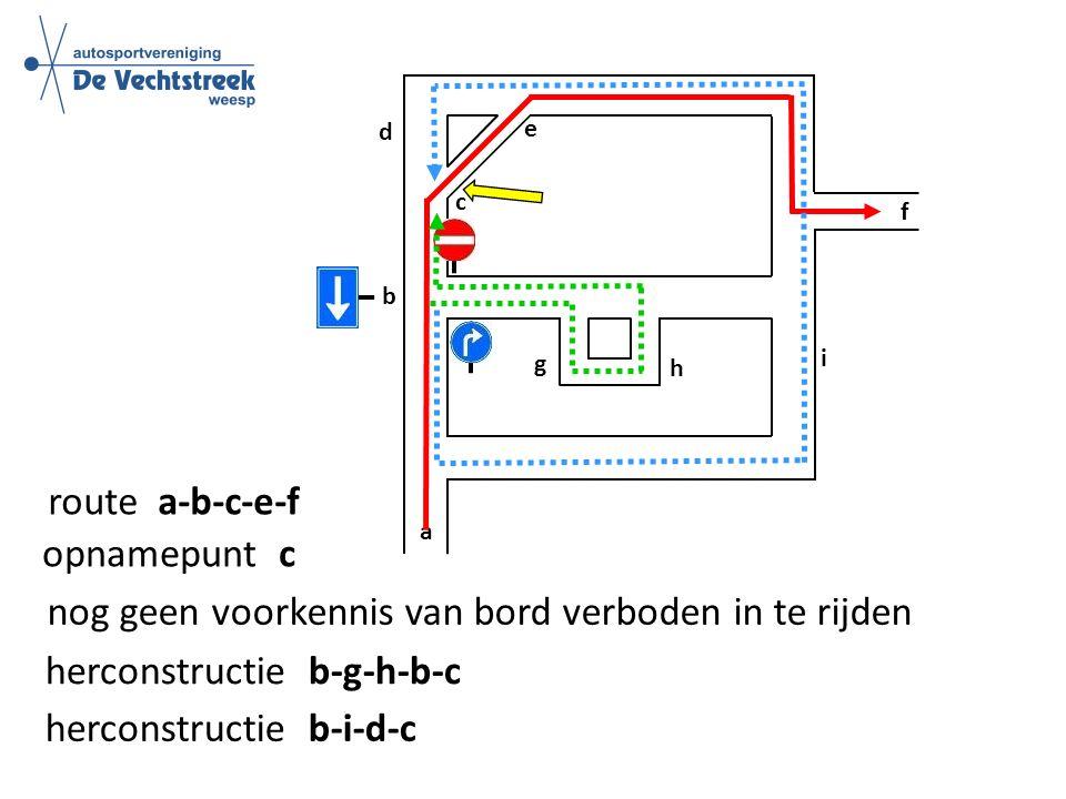 a b e f d route a-b-c-e-f opnamepunt c herconstructie b-g-h-b-c herconstructie b-i-d-c c nog geen voorkennis van bord verboden in te rijden h g i