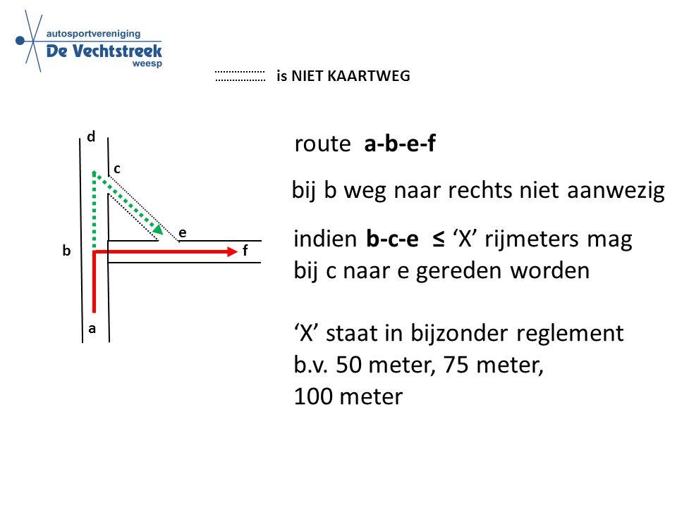a c d b f e route a-b-e-f is NIET KAARTWEG bij b weg naar rechts niet aanwezig indien b-c-e ≤ 'X' rijmeters mag bij c naar e gereden worden 'X' staat in bijzonder reglement b.v.
