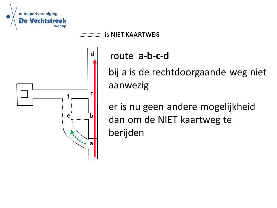 is NIET KAARTWEG route a-b-c-d b c d e f a bij a is de rechtdoorgaande weg niet aanwezig er is nu geen andere mogelijkheid dan om de NIET kaartweg te berijden