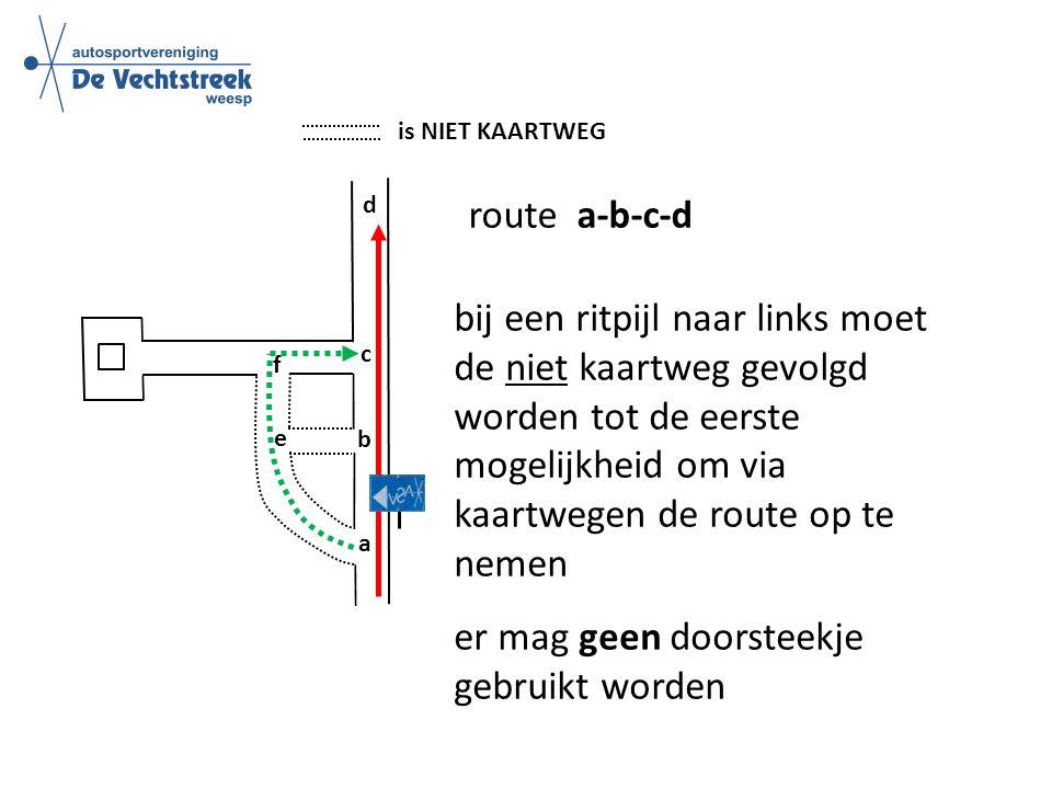 is NIET KAARTWEG route a-b-c-d b c d e f a bij een ritpijl naar links moet de niet kaartweg gevolgd worden tot de eerste mogelijkheid om via kaartwegen de route op te nemen er mag geen doorsteekje gebruikt worden