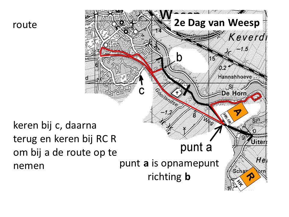 route punt a is opnamepunt richting b A HK-1R keren bij c, daarna terug en keren bij RC R om bij a de route op te nemen R HK 2e Dag van Weesp