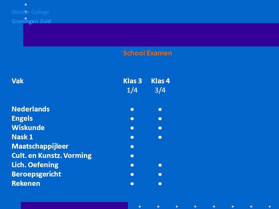 School Examen VakKlas 3Klas 4 1/4 3/4 Nederlands   Engels   Wiskunde   Nask 1   Maatschappijleer  Cult.