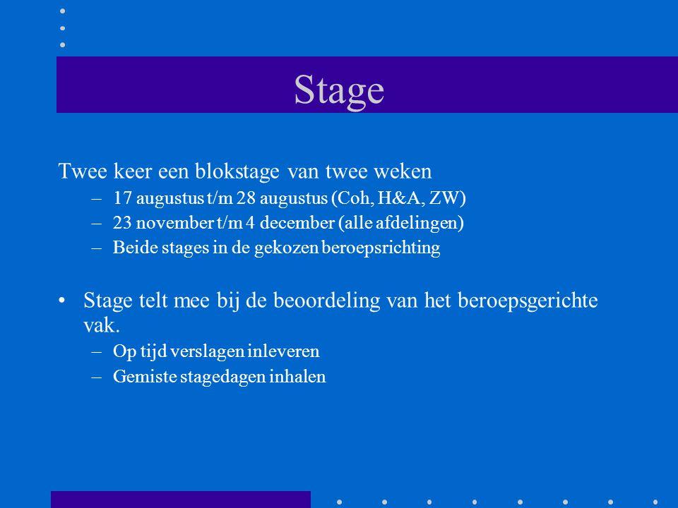 Stage Twee keer een blokstage van twee weken –17 augustus t/m 28 augustus (Coh, H&A, ZW) –23 november t/m 4 december (alle afdelingen) –Beide stages in de gekozen beroepsrichting Stage telt mee bij de beoordeling van het beroepsgerichte vak.