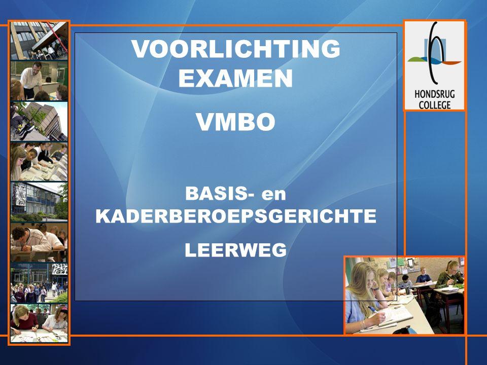VOORLICHTING EXAMEN VMBO BASIS- en KADERBEROEPSGERICHTE LEERWEG