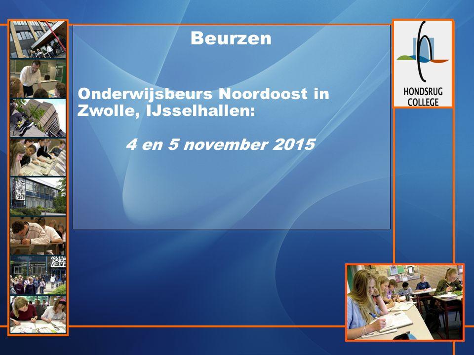 Beurzen Onderwijsbeurs Noordoost in Zwolle, IJsselhallen: 4 en 5 november 2015
