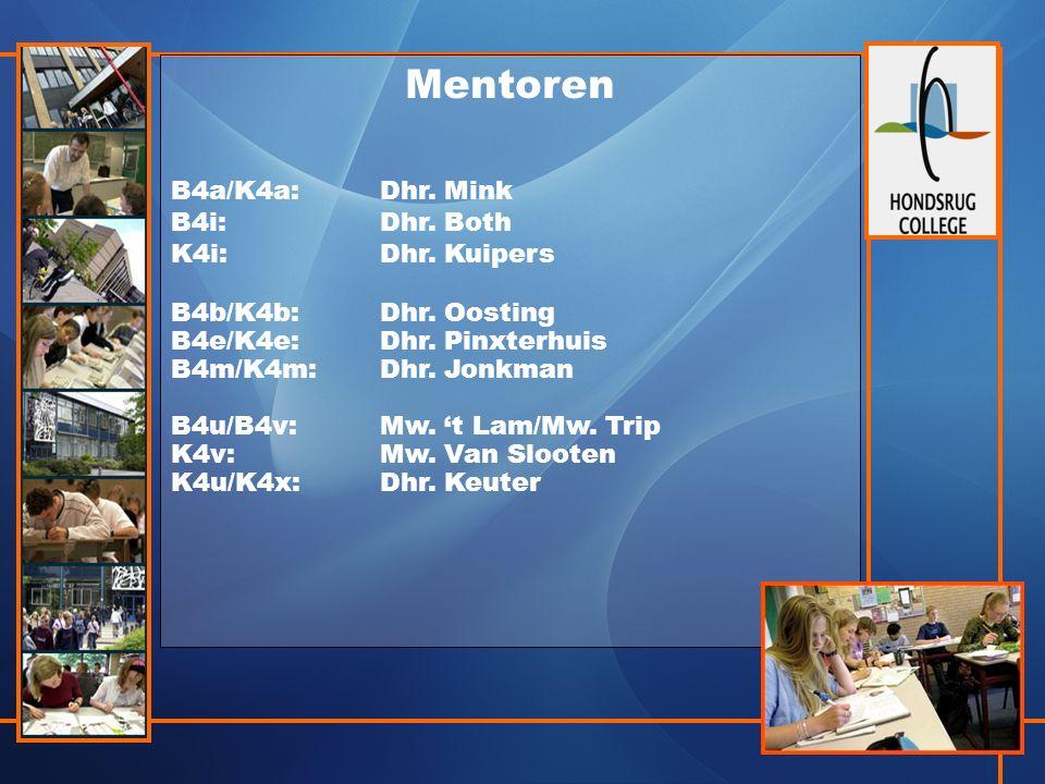 Mentoren B4a/K4a:Dhr. Mink B4i:Dhr. Both K4i:Dhr.