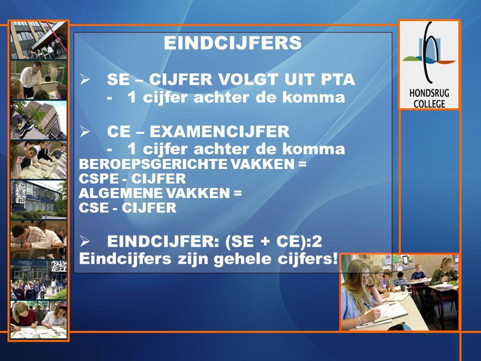 EINDCIJFERS  SE – CIJFER VOLGT UIT PTA -1 cijfer achter de komma  CE – EXAMENCIJFER -1 cijfer achter de komma BEROEPSGERICHTE VAKKEN = CSPE - CIJFER ALGEMENE VAKKEN = CSE - CIJFER  EINDCIJFER: (SE + CE):2 Eindcijfers zijn gehele cijfers!