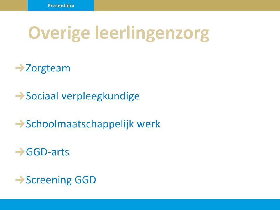 Zorgteam Sociaal verpleegkundige Schoolmaatschappelijk werk GGD-arts Screening GGD Overige leerlingenzorg Presentatie