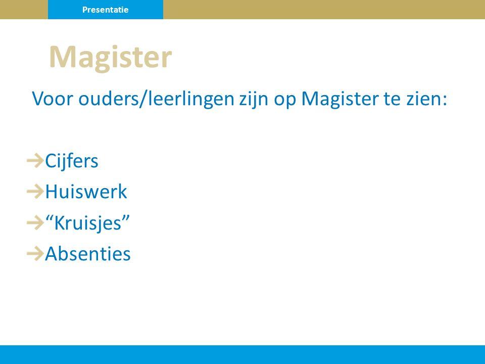 Voor ouders/leerlingen zijn op Magister te zien: Cijfers Huiswerk Kruisjes Absenties Magister Presentatie
