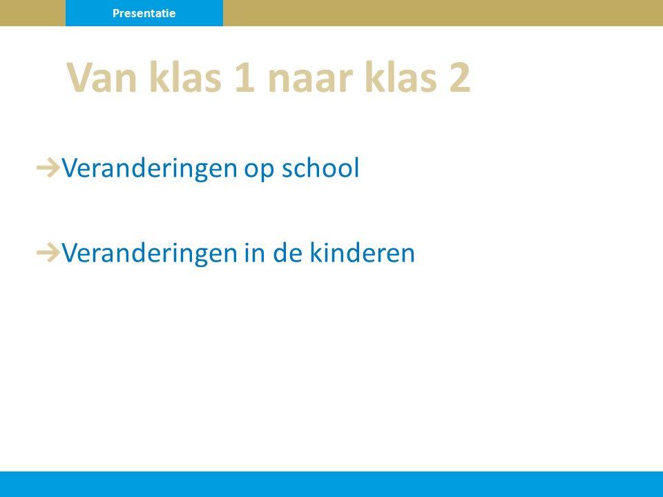 Veranderingen op school Veranderingen in de kinderen Van klas 1 naar klas 2 Presentatie