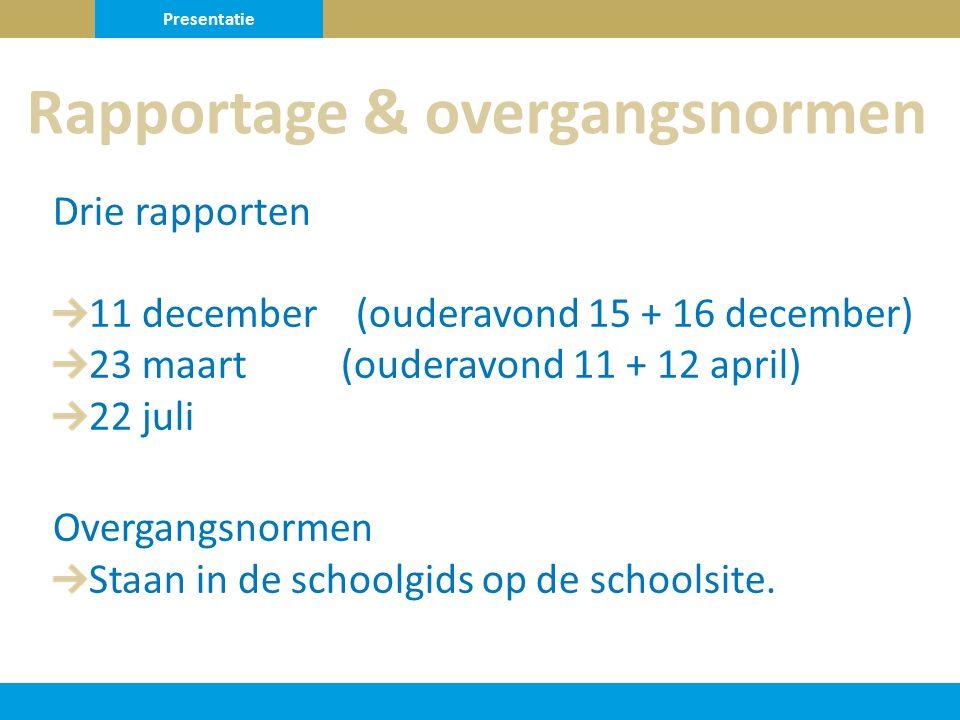 Drie rapporten 11 december (ouderavond 15 + 16 december) 23 maart (ouderavond 11 + 12 april) 22 juli Overgangsnormen Staan in de schoolgids op de schoolsite.