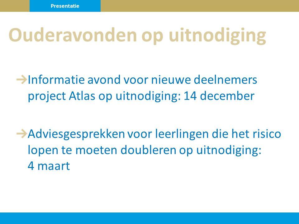 Informatie avond voor nieuwe deelnemers project Atlas op uitnodiging: 14 december Adviesgesprekken voor leerlingen die het risico lopen te moeten doubleren op uitnodiging: 4 maart Ouderavonden op uitnodiging Presentatie