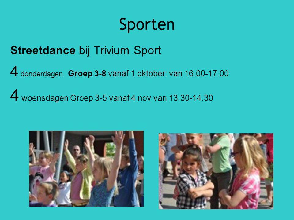 Sporten Streetdance bij Trivium Sport 4 donderdagen Groep 3-8 vanaf 1 oktober: van 16.00-17.00 4 woensdagen Groep 3-5 vanaf 4 nov van 13.30-14.30