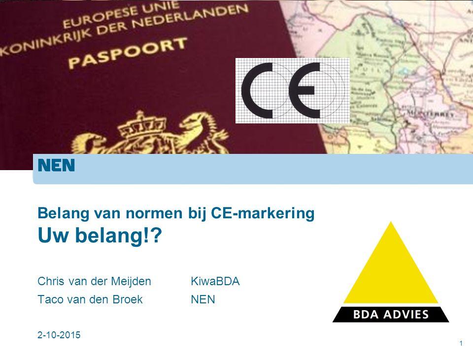 Belang van normen bij CE-markering Uw belang!.