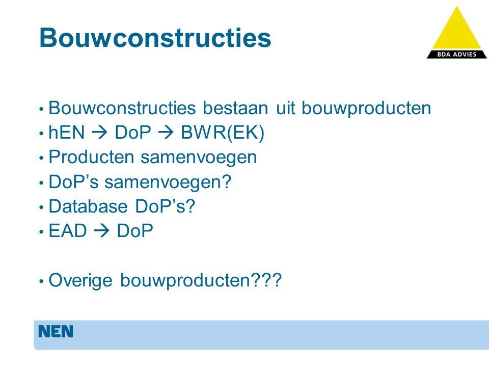 Bouwconstructies Bouwconstructies bestaan uit bouwproducten hEN  DoP  BWR(EK) Producten samenvoegen DoP's samenvoegen.