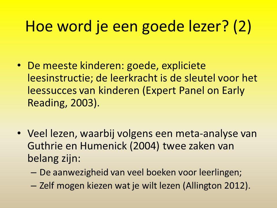 Hoe wordt een kind een goede lezer? (1) Goed doelgericht leesonderwijs Veel aandacht van thuis voor lezen Zelf voor lezen gemotiveerd te zijn De belan