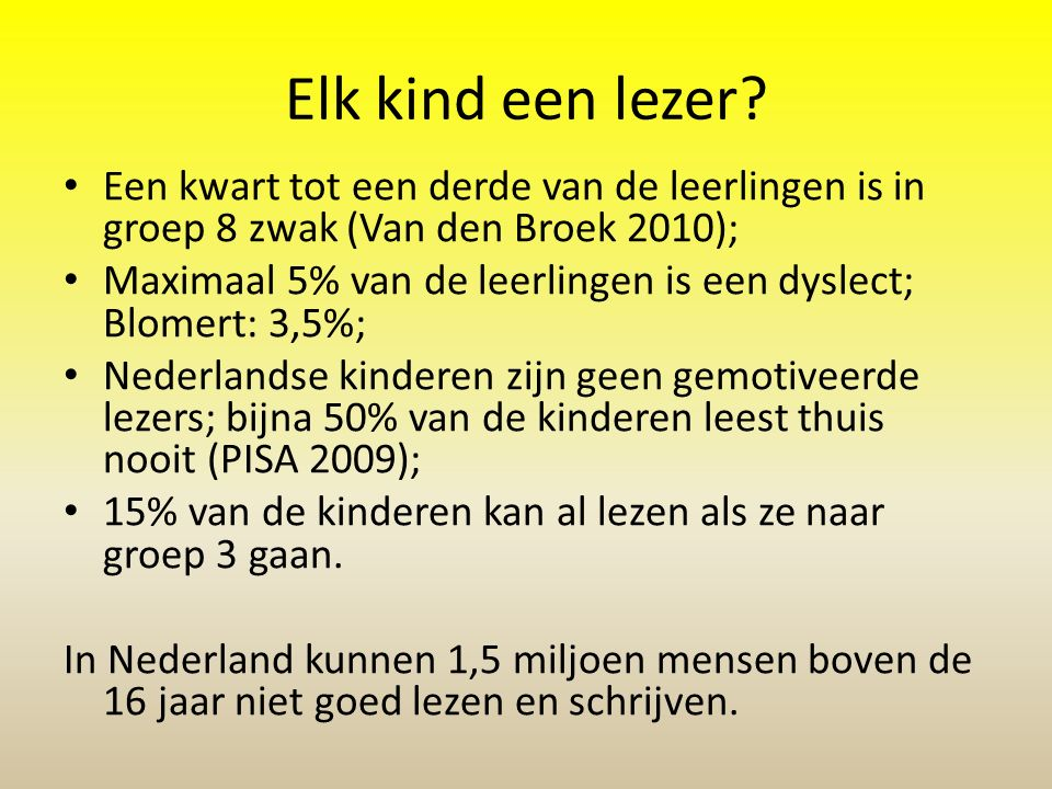Bevindingen Leesverbeterplan Enschede 2009 9000 leerlingen! november 2009: begin groep 8: 98% van de kinderen leest minimaal AVI-9! Landelijk: slechts