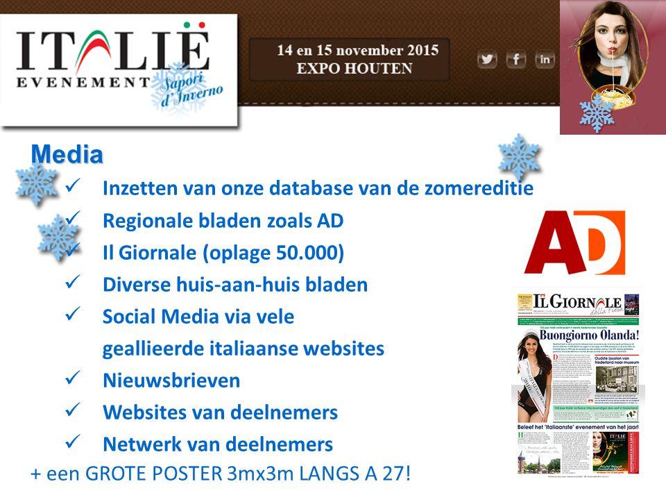 Media Inzetten van onze database van de zomereditie Regionale bladen zoals AD Il Giornale (oplage 50.000) Diverse huis-aan-huis bladen Social Media vi