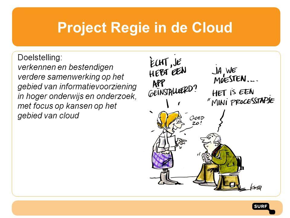 Project Regie in de Cloud Doelstelling: verkennen en bestendigen verdere samenwerking op het gebied van informatievoorziening in hoger onderwijs en on