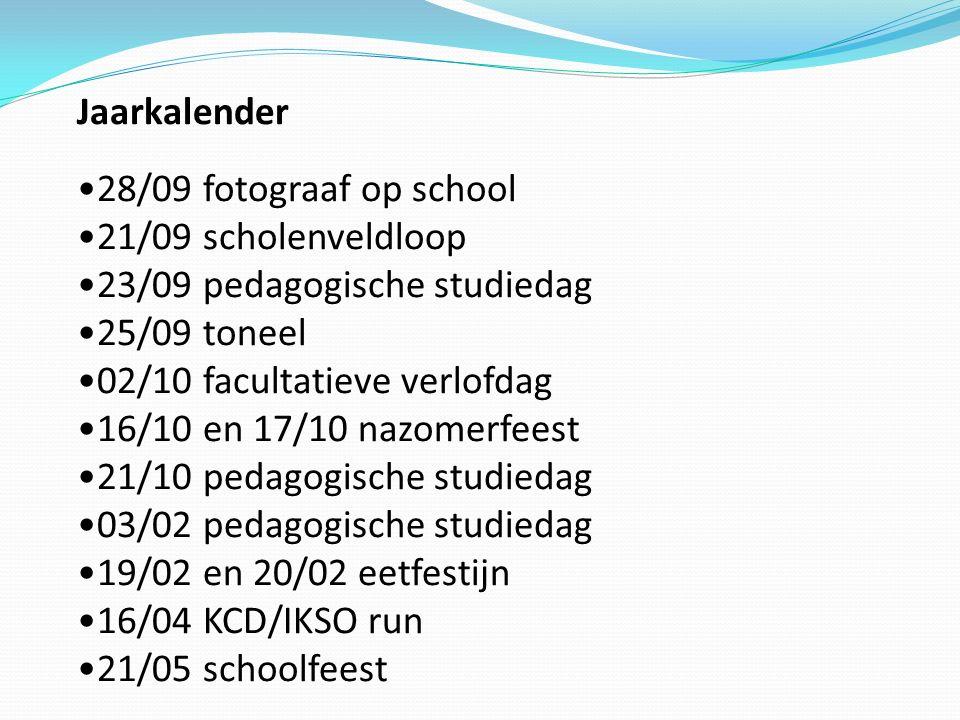 Jaarkalender 28/09 fotograaf op school 21/09 scholenveldloop 23/09 pedagogische studiedag 25/09 toneel 02/10 facultatieve verlofdag 16/10 en 17/10 naz