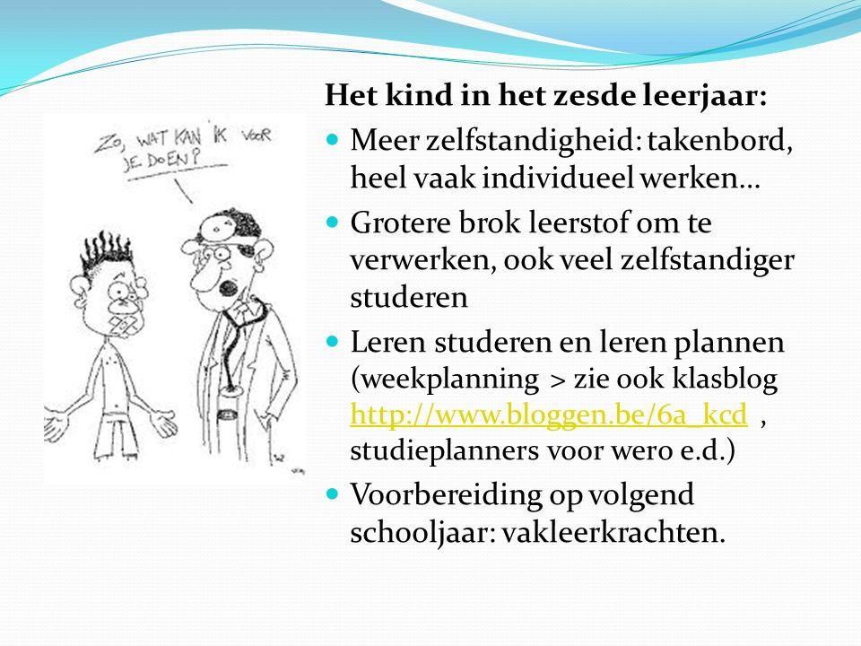 Het kind in het zesde leerjaar: Meer zelfstandigheid: takenbord, heel vaak individueel werken… Grotere brok leerstof om te verwerken, ook veel zelfsta