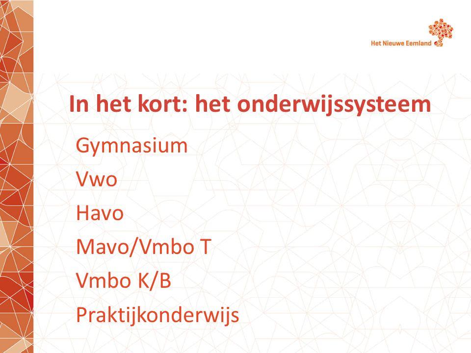 In het kort: het onderwijssysteem Gymnasium Vwo Havo Mavo/Vmbo T Vmbo K/B Praktijkonderwijs