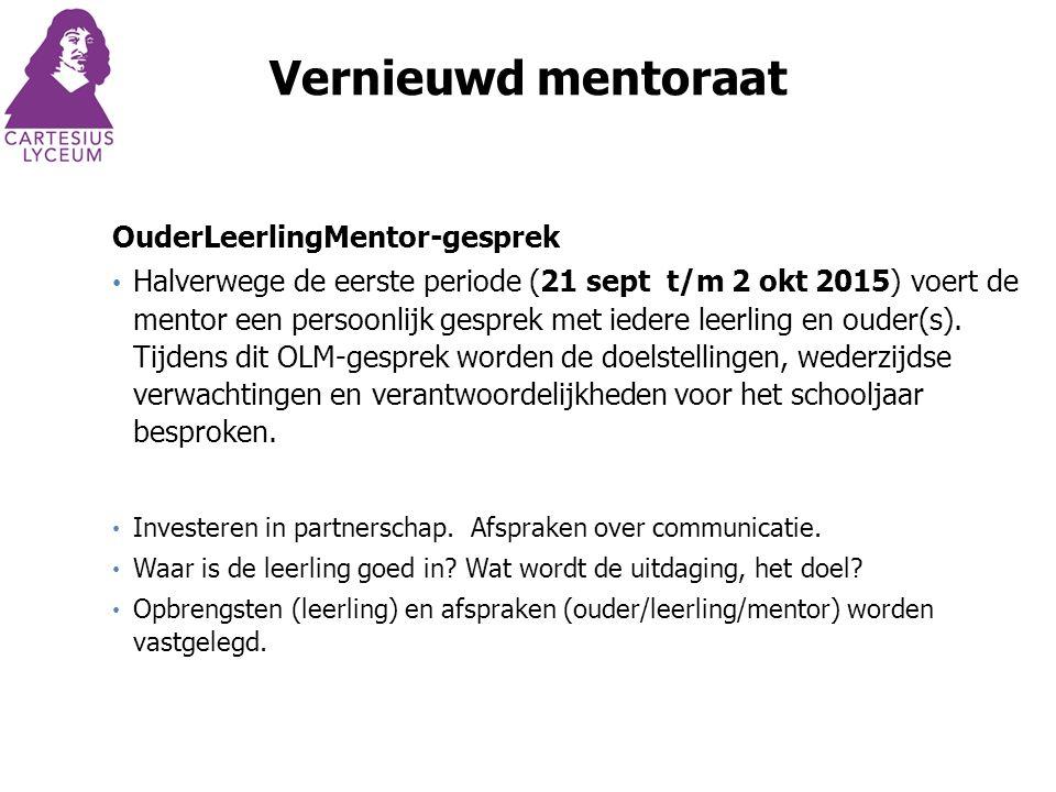 OuderLeerlingMentor-gesprek Halverwege de eerste periode (21 sept t/m 2 okt 2015) voert de mentor een persoonlijk gesprek met iedere leerling en ouder