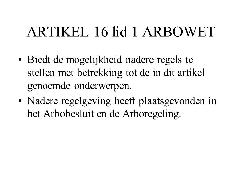 ARTIKEL 16 lid 1 ARBOWET Biedt de mogelijkheid nadere regels te stellen met betrekking tot de in dit artikel genoemde onderwerpen. Nadere regelgeving